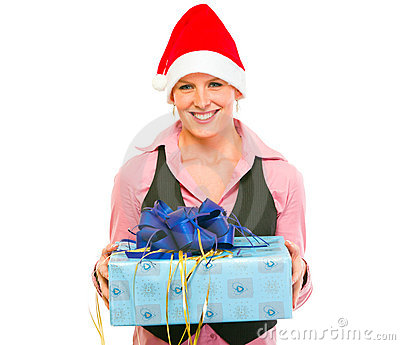 Business woman in Santa Hat with present box