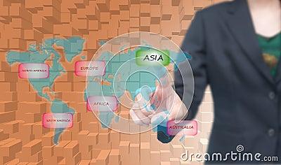 Business woman select Asia icon on worldmap