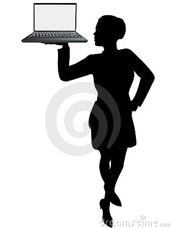 Business woman server holds up laptop computer