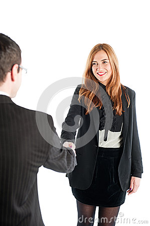 Business woman shaking hands with a business man