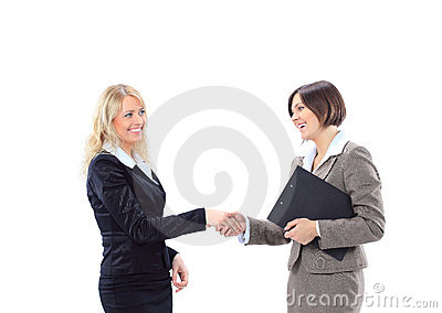 Business woman shaking hands greeting