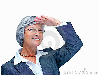 Business woman shielding her eyes and looking away