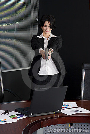 Business woman shooting