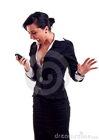 Business woman shouting to a phone