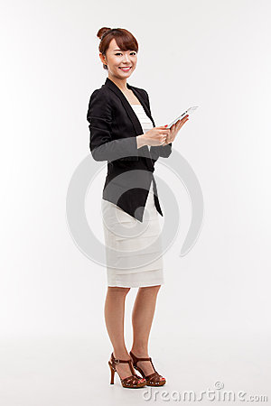 Business woman show empty space of pad PC