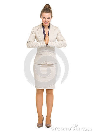 Business woman showing asian greeting