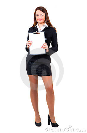 Business woman showing clipboard