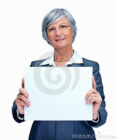 Business woman showing empty billboard over white