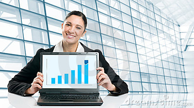 Business woman showing growing chart