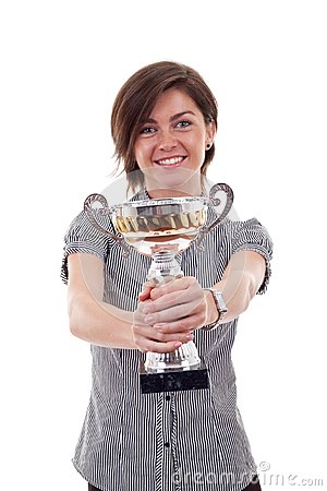 Business woman showing her big trophy