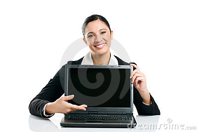 Business woman showing laptop screen