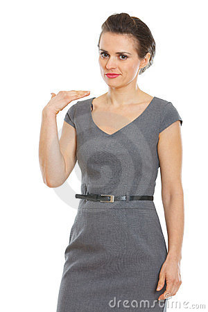 Business woman showing not good gesture