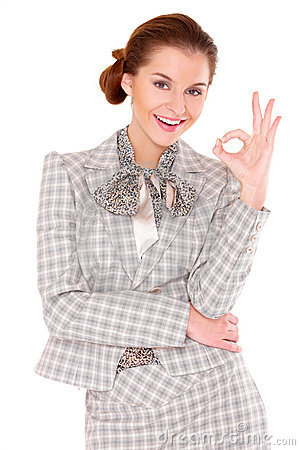 Business woman showing okay gesture