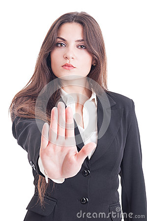 Free Business Woman Showing Palm As Stop, Stay, Decline Or Refuse Stock Images - 59878274
