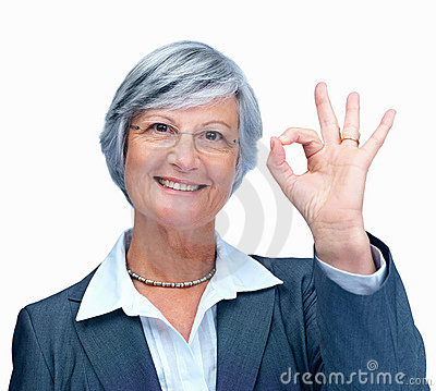 Business woman showing a positive gesture