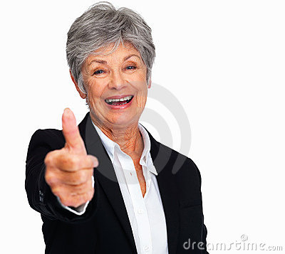 Business woman showing thumbs up sign by copyspace