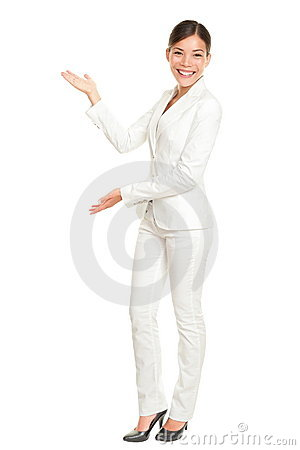 Business woman showing welcoming
