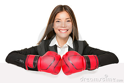 Business woman sign - boxing gloves