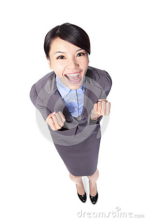 Free Business Woman Smile And Raise Her Arms Stock Photography - 28652612