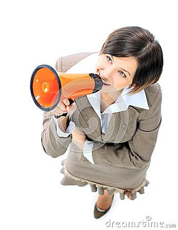 Business woman speak in megaphone