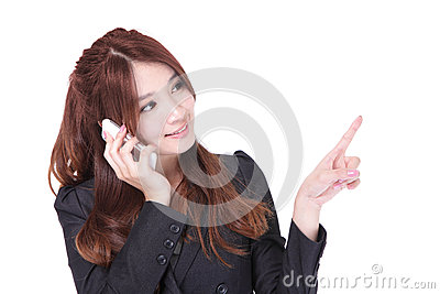Business woman speak phone and finger pointing