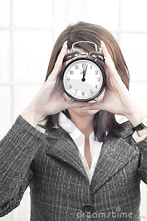 Business woman stressed by time