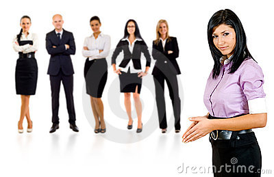 Business woman student leading a team