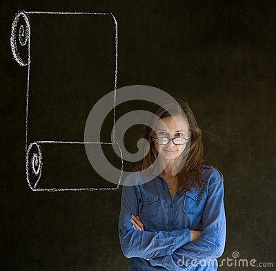 Woman, student or teacher with menu scroll checkli