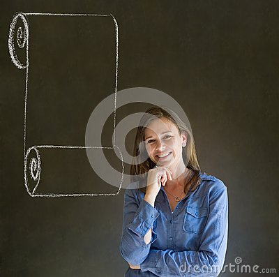 Woman, student or teacher with menu scroll checklist hand on chin