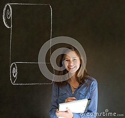 Woman, student or teacher with menu scroll checkli