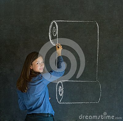 Woman, student or teacher with menu scroll writing on board