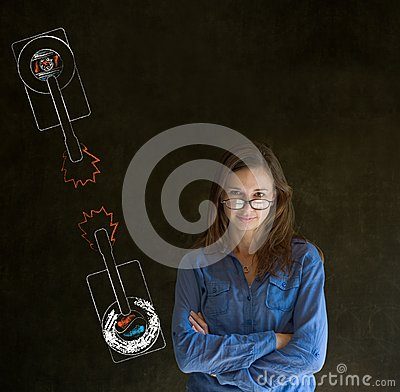 Woman with North and South Korea conflict war tanks on blackboard background