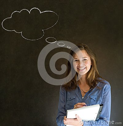 Woman with thought thinking chalk cloud writing on note pad