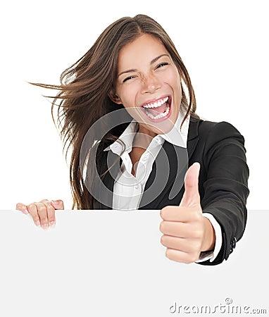 Business woman success sign