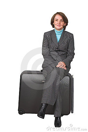 Business woman on suitcase 2