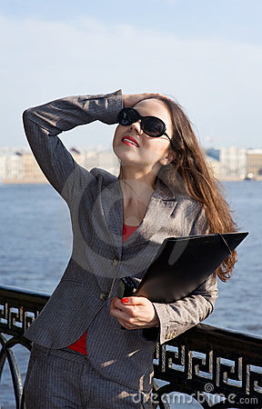 Business woman in sunglasses
