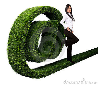 Business woman with an  at  symbol