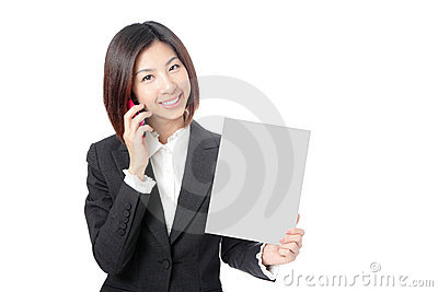 Business woman take blank paper and speaking phone