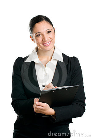 Free Business Woman Taking Notes On Clipboard Stock Photography - 11900702
