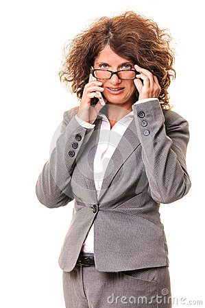 Business woman talk on cell phone