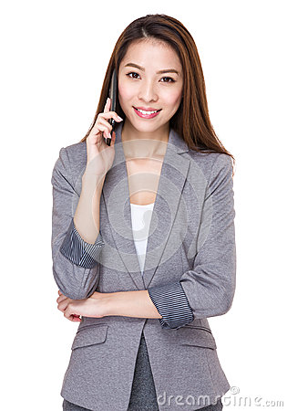Free Business Woman Talk To Mobile Phone Stock Images - 46576224
