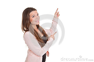 Business woman or teacher pointing