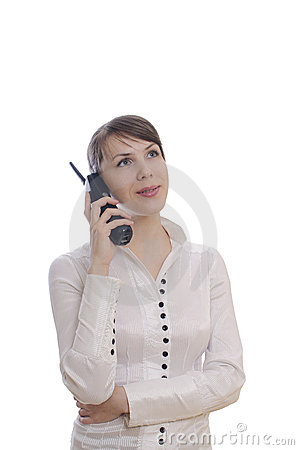 Business woman with a telephone