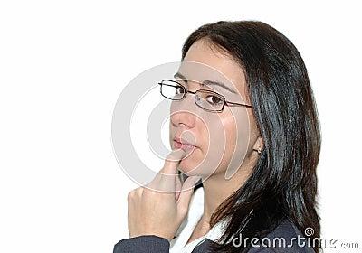 Business woman thinking .