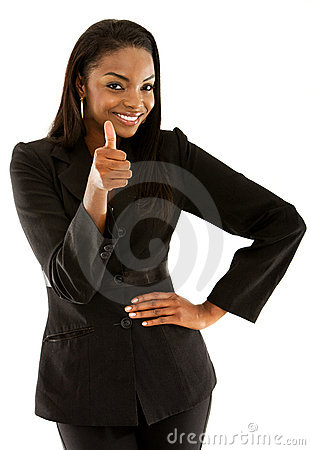 Business woman with thumb up
