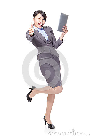 Business woman thumb up with tablet pc