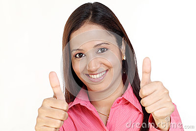 Business woman thumbs up gesture