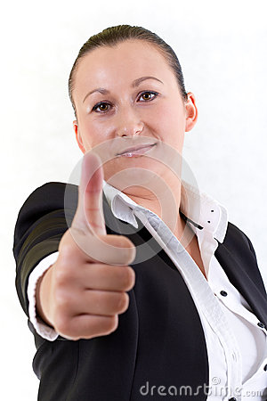 Business woman with thumbs up gesture