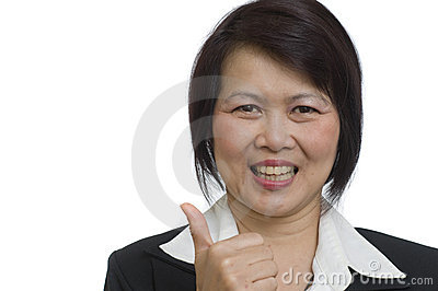 Business woman with thumbs up hand sign