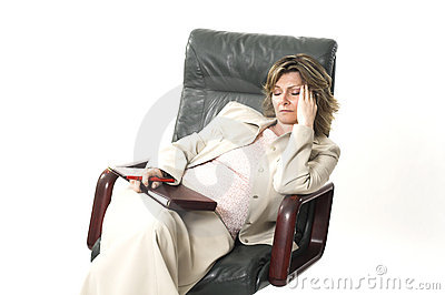 Business woman tired on chair